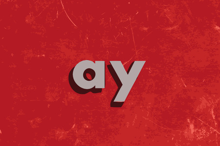 ay vector word on red concrete wall
