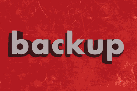 backups: backup vector word on red concrete wall