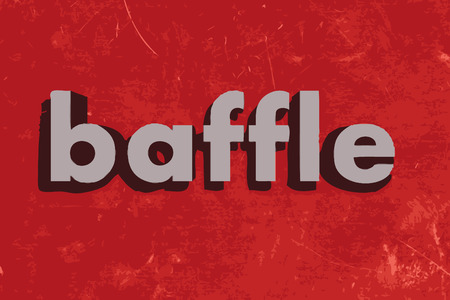 baffle: baffle vector word on red concrete wall