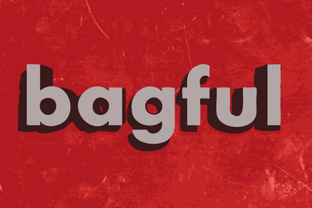 bagful: bagful vector word on red concrete wall