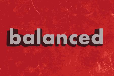 balanced: balanced vector word on red concrete wall