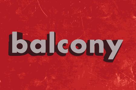 on the balcony: balcony vector word on red concrete wall