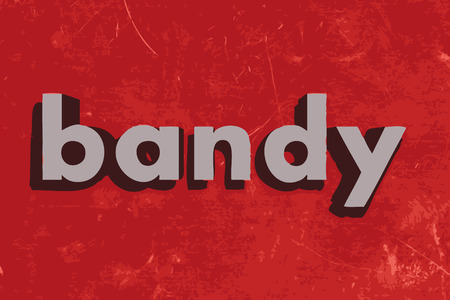 bandy: bandy vector word on red concrete wall