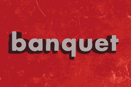banquet: banquet vector word on red concrete wall Illustration