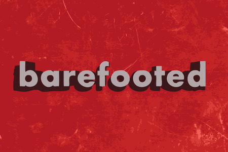 barefooted: barefooted vector word on red concrete wall Illustration