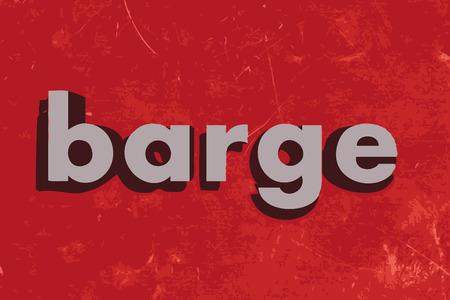 はしけ: 赤のコンクリート壁にはしけベクトル単語  イラスト・ベクター素材