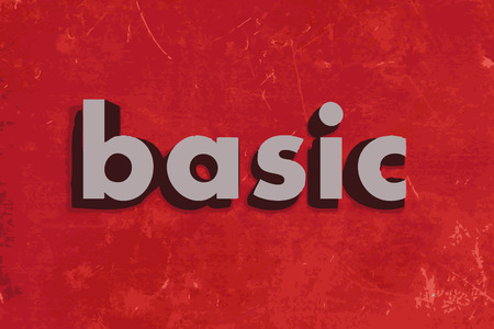 basic letters: basic vector word on red concrete wall Illustration