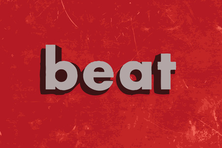 beat: beat vector word on red concrete wall Illustration