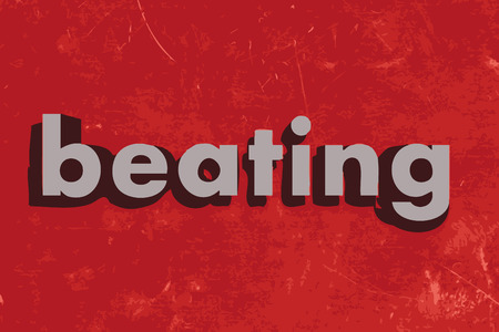 beating: beating vector word on red concrete wall