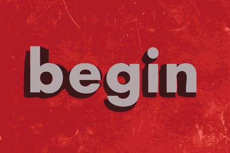 begin: begin vector word on red concrete wall Illustration
