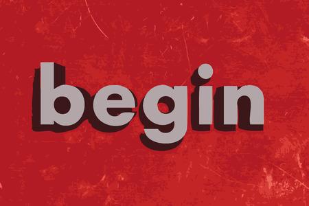 empezar: comenzar� palabra del vector en rojo muro de hormig�n Vectores