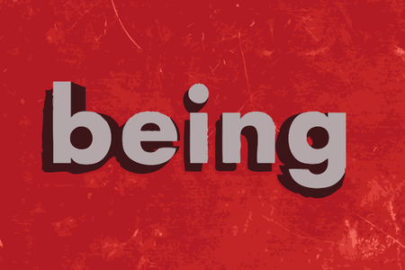 being: being vector word on red concrete wall