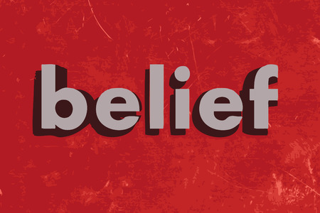 belief: belief vector word on red concrete wall Illustration