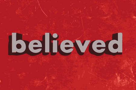 believed: believed vector word on red concrete wall