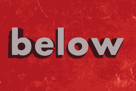 below: below vector word on red concrete wall Illustration