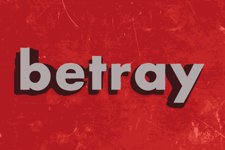 betray: betray vector word on red concrete wall Illustration