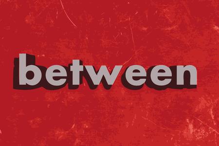 between: between vector word on red concrete wall