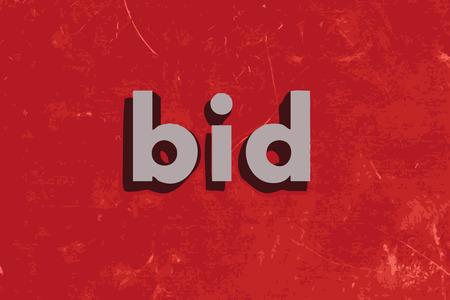 bid: pujar palabra vector en rojo muro de hormig�n Vectores