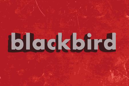 blackbird: kos wektor słowo na czerwonym betonową ścianę Ilustracja