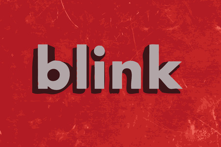 blink: blink vector word on red concrete wall