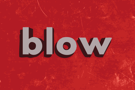 blow: blow vector word on red concrete wall