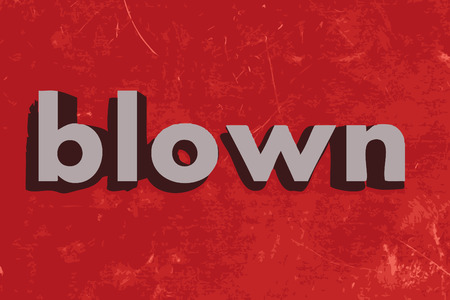 blown: blown vector word on red concrete wall