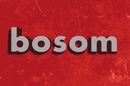 bosom: palabra seno del vector en rojo muro de hormig�n