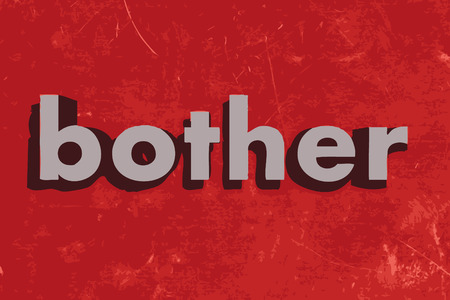 bother: bother vector word on red concrete wall