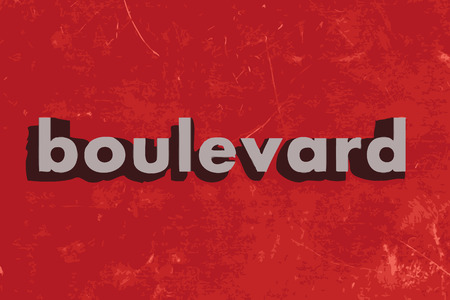 boulevard: boulevard vector word on red concrete wall