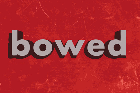 bowed: bowed vector word on red concrete wall