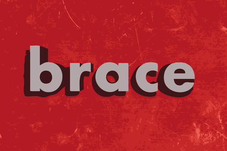 brace: brace vector word on red concrete wall