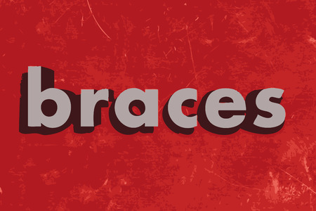braces: braces vector word on red concrete wall Illustration