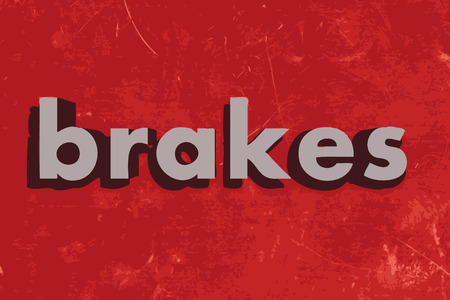 brakes: brakes vector word on red concrete wall