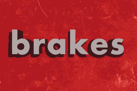 frenos: palabra frenos vector en rojo muro de hormigón