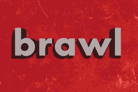 brawl: brawl vector word on red concrete wall