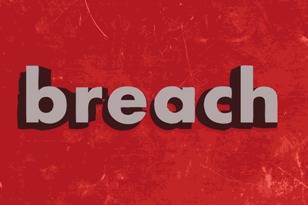 breach: breach vector word on red concrete wall Illustration