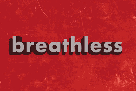 breathless: breathless vector word on red concrete wall
