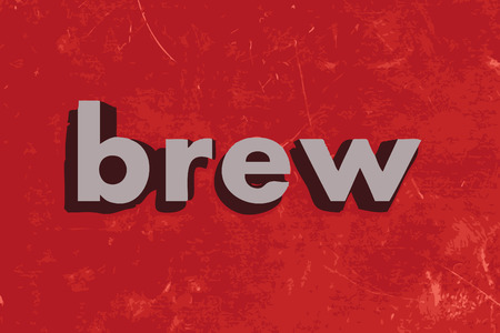 brew: brew vector word on red concrete wall Illustration