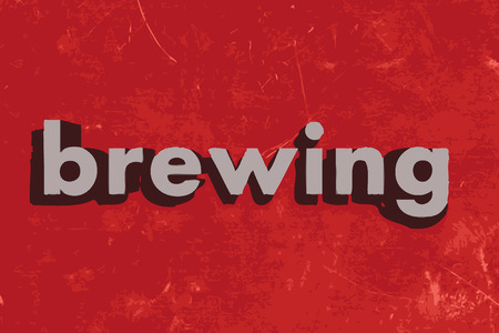 brewing: brewing vector word on red concrete wall Illustration