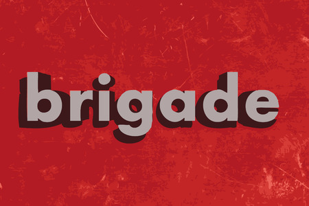 brigade: brigade vector word on red concrete wall