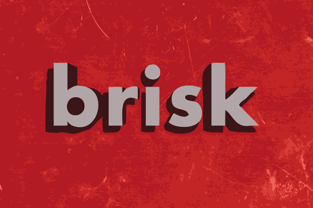 brisk: brisk vector word on red concrete wall