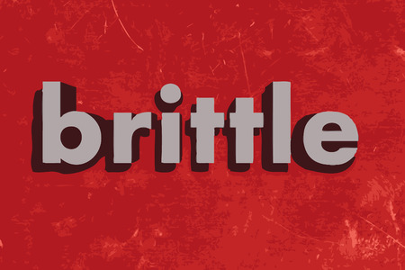 brittle: brittle vector word on red concrete wall