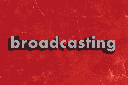 broadcasting vector word on red concrete wall