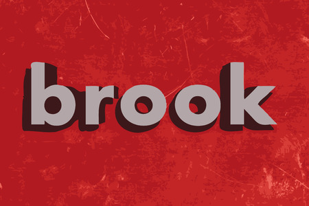 brook: brook vector word on red concrete wall Illustration