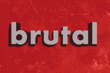 brutal: brutal vector word on red concrete wall