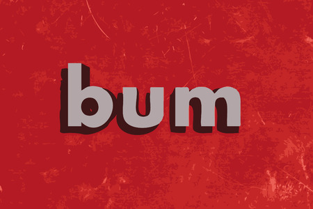 bum: bum vector word on red concrete wall