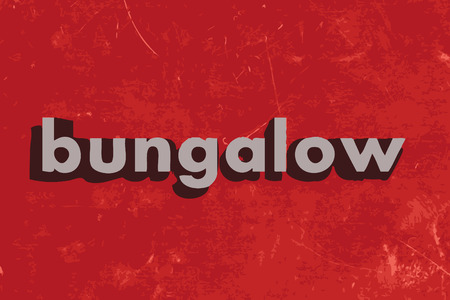 bungalow: bungalow vector word on red concrete wall Illustration