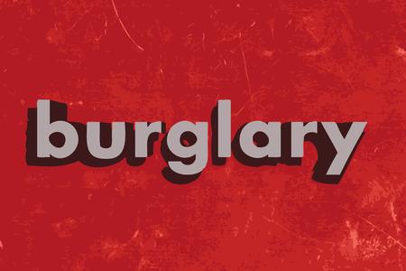burglary: burglary vector word on red concrete wall Illustration