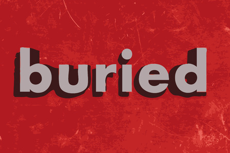 buried: buried vector word on red concrete wall Illustration