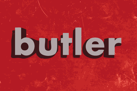 butler: butler vector word on red concrete wall